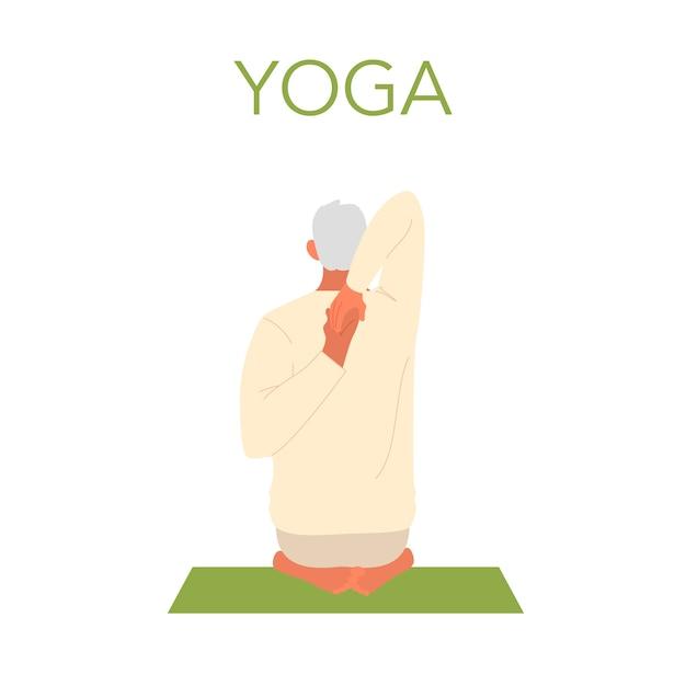 Velho fazendo ioga. asana ou exercício para idosos. saúde física e mental. relaxamento corporal e meditação. treinamento de aposentados. ilustração plana isolada Vetor Premium