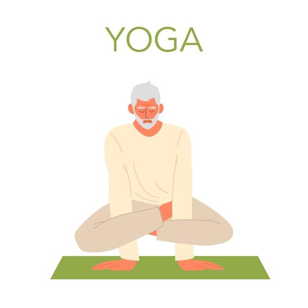 Velho fazendo ioga Vetor Premium