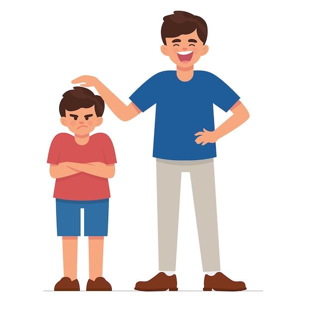 Velho irmão irritar seu irmão mais novo porque muito curto Vetor Premium