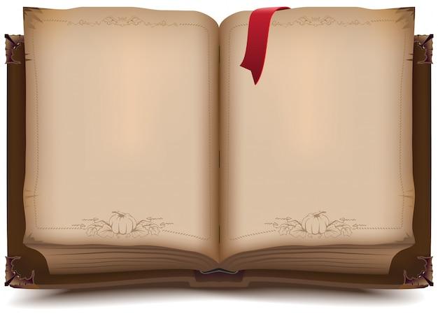 Velho livro aberto para o halloween Vetor Premium