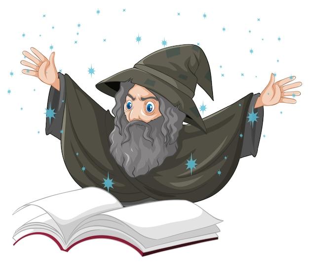 Velho mago com feitiço e livro estilo cartoon isolado no branco Vetor grátis