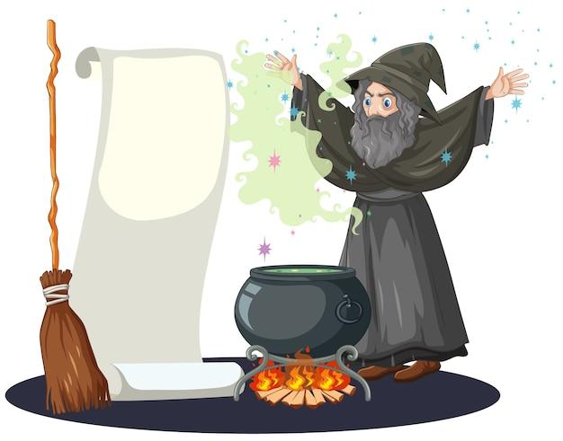Velho mago com pote de magia negra, cabo de vassoura e papel banner em branco, estilo cartoon isolado no branco Vetor grátis
