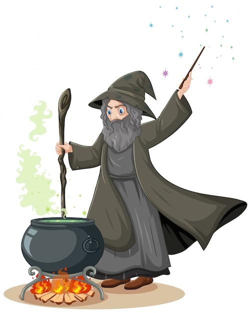 Velho mago com pote de magia negra e varinha mágica estilo cartoon sobre fundo branco Vetor grátis