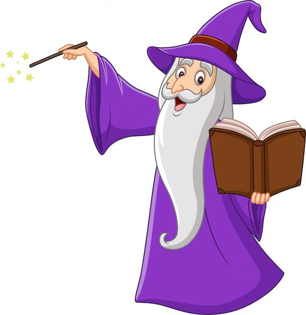 Velho mago dos desenhos animados, segurando um livro de magia Vetor Premium