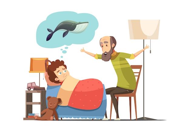 Velho personagem sênior com barba diz seu neto hora de dormir de peixe história cartoon retrô ilustração em vetor cartaz Vetor grátis