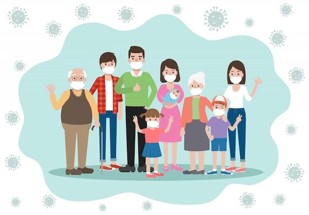 Velhos e jovens membros da família, usando máscaras, evitando e impedindo a pandemia do vírus corona e a disseminação do covid-19, ficando em casa. consciência da doença de coronavírus. Vetor Premium