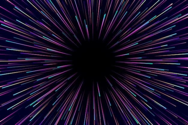 Velocidade luzes chuva fundo escuro Vetor Premium