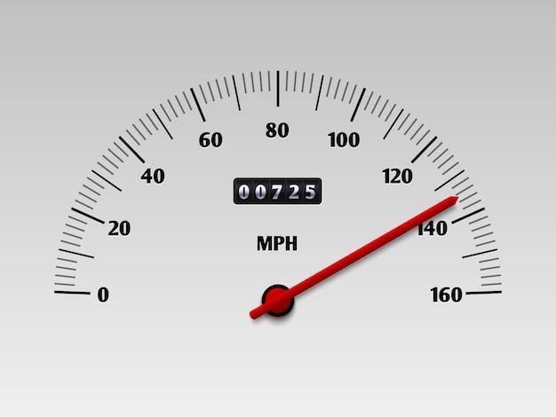 Velocímetro de carro com escala de nível de velocidade ou ilustração vetorial de tacômetro isolada Vetor Premium