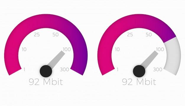 Velocímetro internet speed 300 mb Vetor Premium