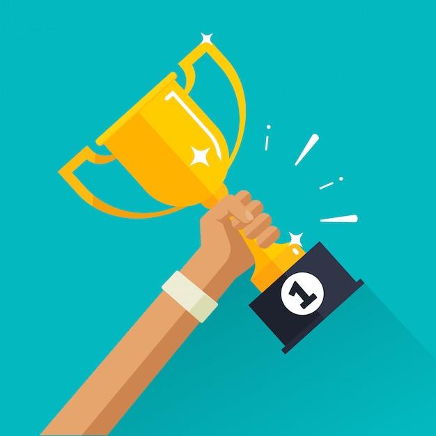 Vencedor conquista esporte prêmio com copo de ouro na mão plana Vetor Premium