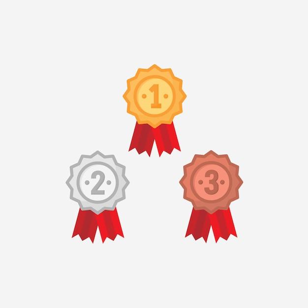 Vencedor da fita ou medalha de vetor em design plano Vetor Premium