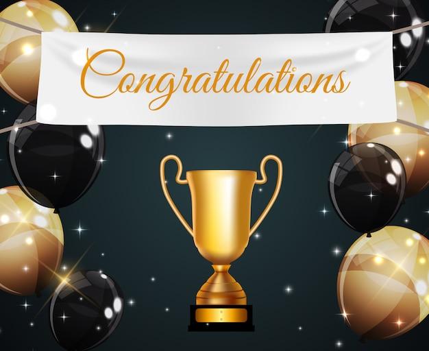 Vencedor da taça de ouro parabéns Vetor Premium