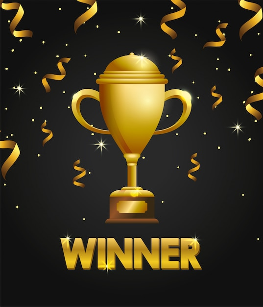 Vencedor do prêmio da copa com confete para campeão Vetor Premium