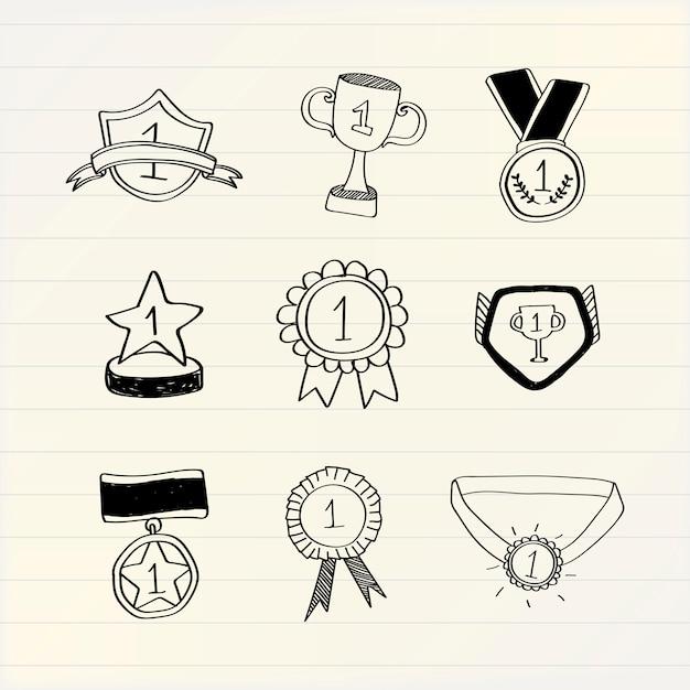 Vencedor do primeiro lugar doodles vector coleção Vetor grátis