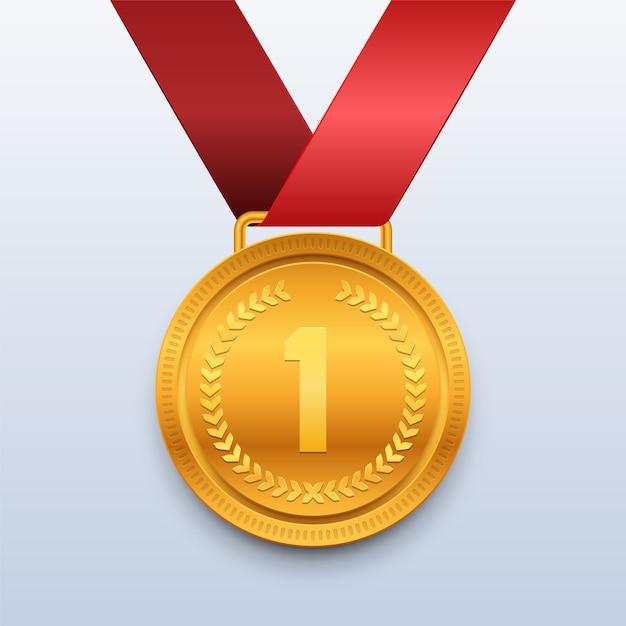 Vencedor medalha de ouro com fita vermelha Vetor Premium