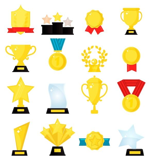 Vencedores de medalha de ouro prêmio lindo troféu dourado copos. Vetor Premium