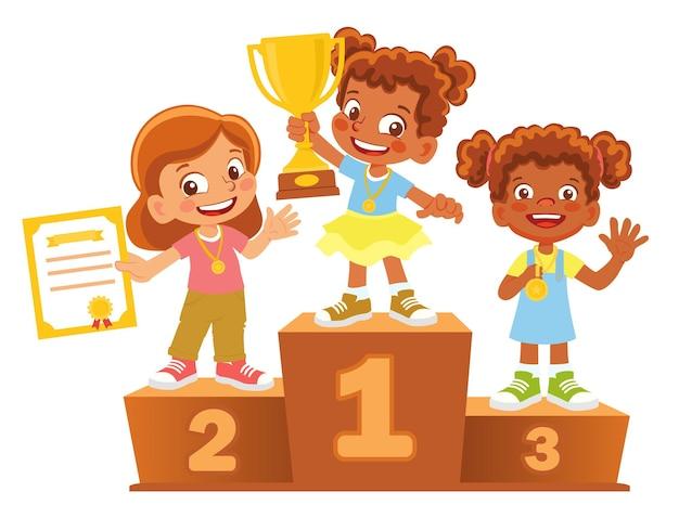 Vencedores do afro-americano no pódio. pedestal de vencedor Vetor Premium