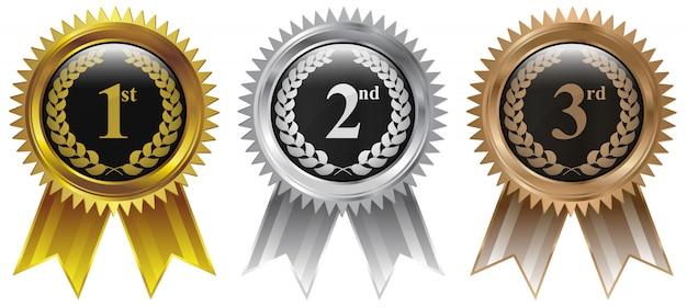 Vencedores medalha de ouro prata bronze Vetor Premium