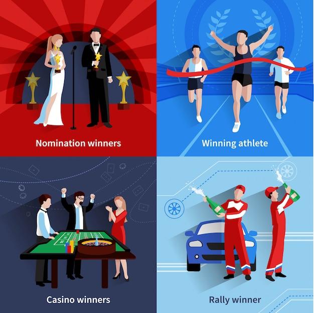 Vencendo e premia o conjunto de ícones Vetor Premium