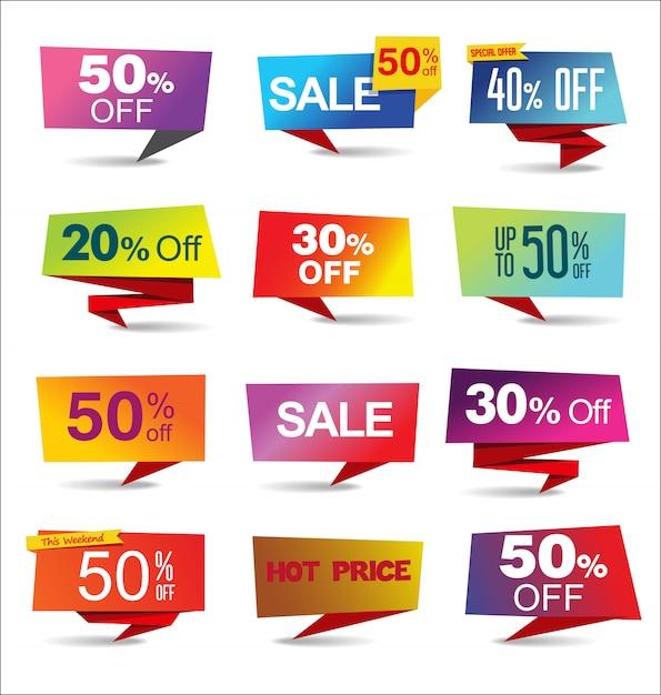 Venda adesivos e etiquetas coleção arco-íris moderno Vetor Premium