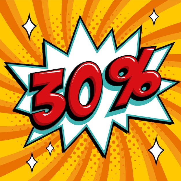Venda amarela 30% web banner. pop art estilo cômico banner de promoção de desconto de venda de trinta por cento. Vetor Premium