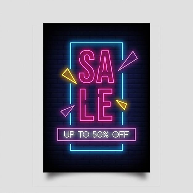 Venda até 50% de desconto para banner vertical no estilo neon. Vetor Premium
