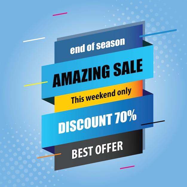 Venda colorida com bakcground azul Vetor Premium