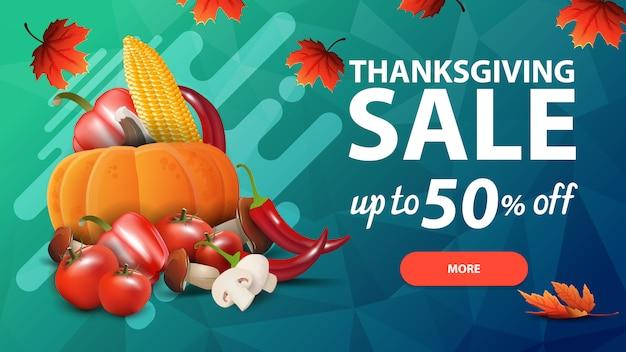 Venda de ação de graças, até 50% de desconto, banner web de desconto verde com textura de polígono e colheita de outono Vetor Premium