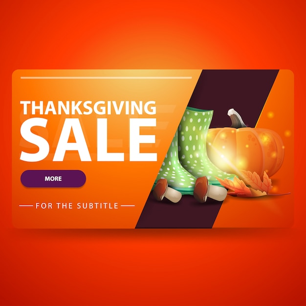 Venda de ação de graças, banner moderno web volumétrica 3d laranja para seu site Vetor Premium