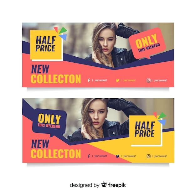 Venda de banner abstrato com coleção de fotos Vetor grátis
