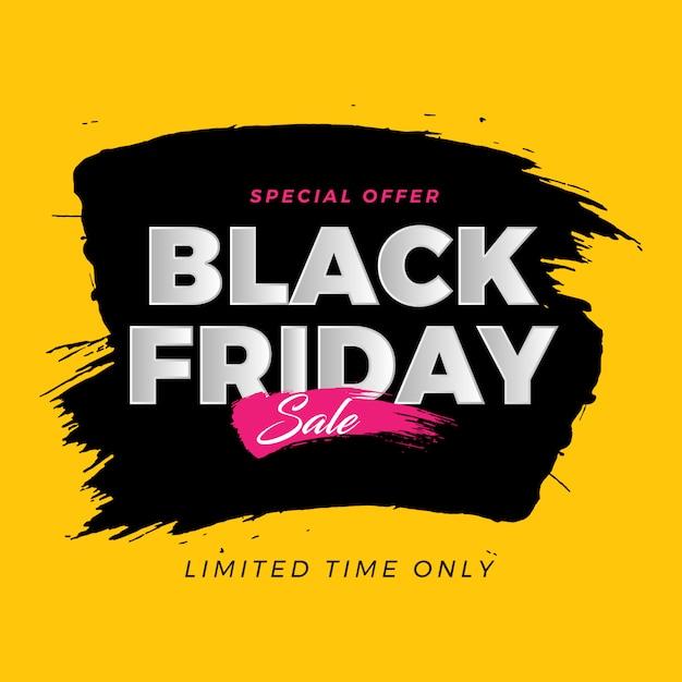 Venda de banner de escova de sexta-feira negra Vetor Premium
