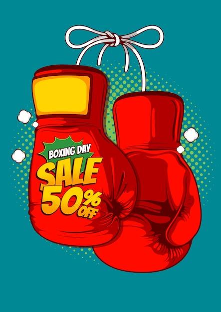 Venda de boxing day, design de poster em quadrinhos. Vetor Premium