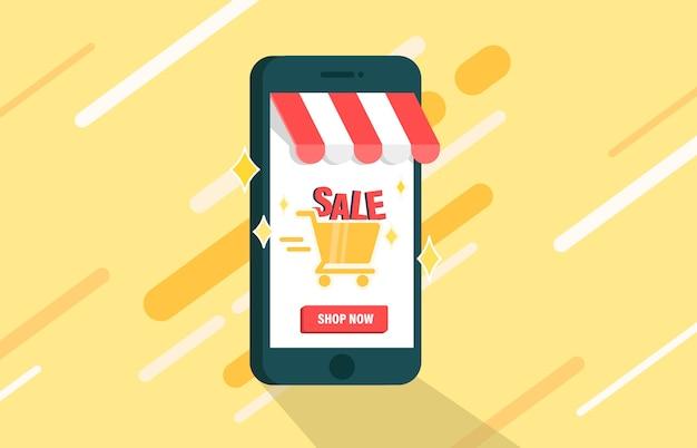 Venda de compras on-line na plataforma móvel. Vetor Premium