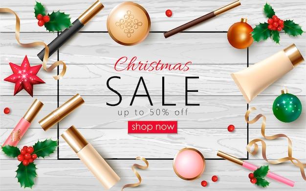 Venda de cosméticos de natal 3d modelo de banner web realista. pacote de maquiagem feminina ano novo Vetor Premium