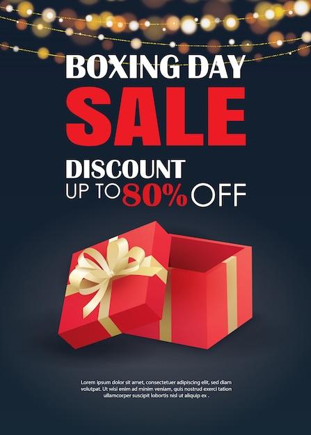 Venda de dia de boxe com modelo de cartaz de publicidade de caixa de presente vermelha. Vetor Premium