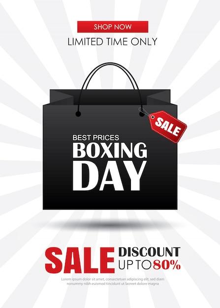 Venda de dia de boxe com modelo de cartaz de publicidade de sacola de compras. Vetor Premium