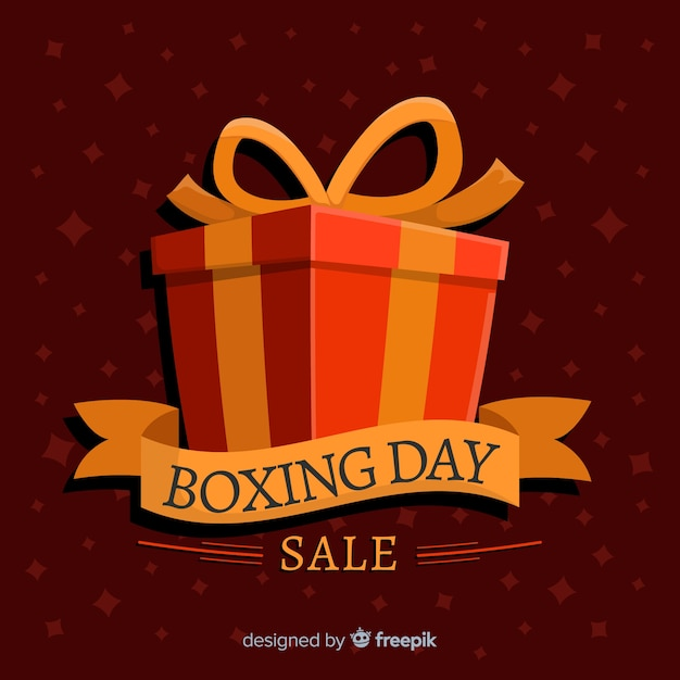 Venda de dia de boxe plana com caixa de presente embrulhada e fita Vetor grátis