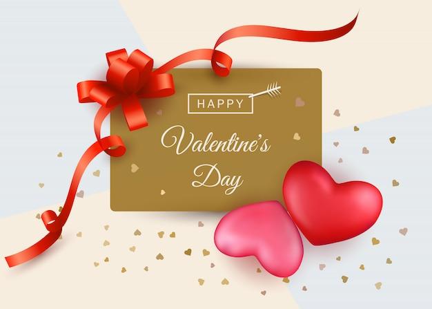Venda de dia dos namorados com dois corações vermelhos e rosa e presente de fita Vetor Premium