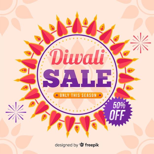 Venda de diwali plana com 50% de desconto Vetor grátis