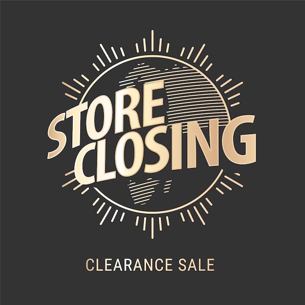 Venda de fechamento de loja, banner Vetor Premium