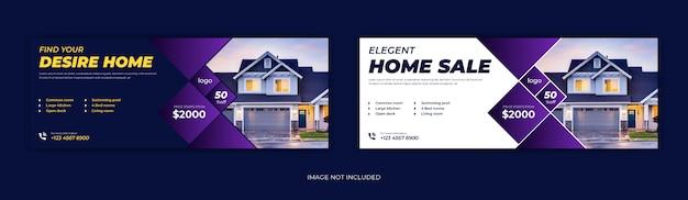 Venda de imóveis casa aluguel mídia social postar página de capa do facebook linha do tempo online web Vetor Premium