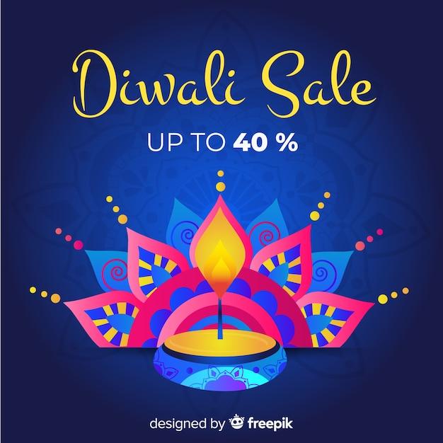 Venda de mão desenhada diwali com 40% de desconto e vela Vetor grátis