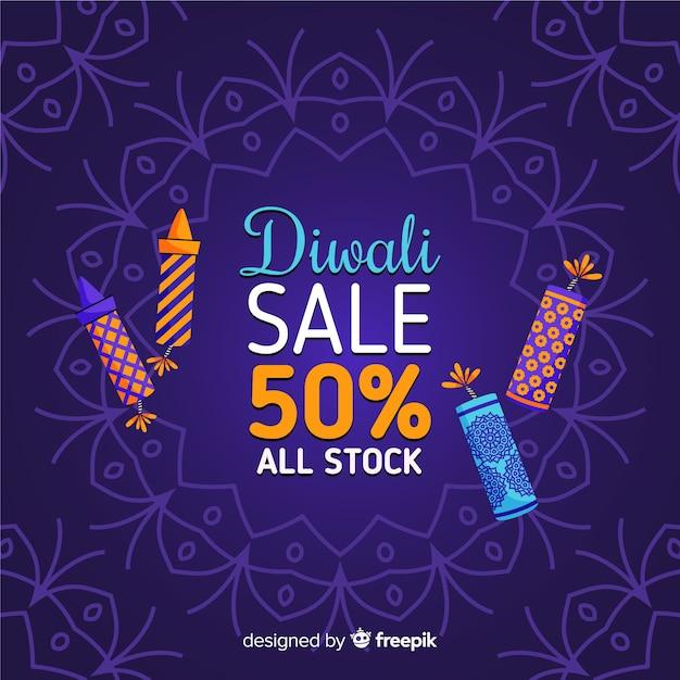 Venda de mão desenhada diwali com 50% de desconto Vetor grátis