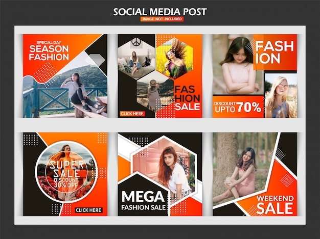 Venda de moda banner post de mídia social Vetor Premium