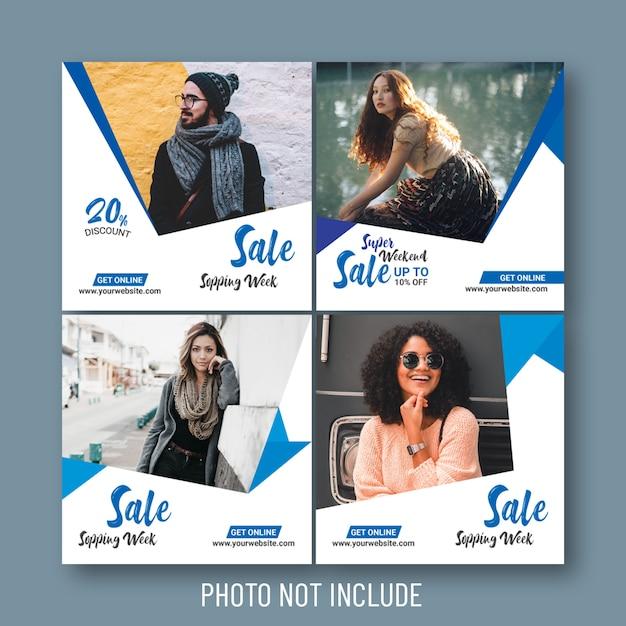 Venda de moda social e banners web Vetor Premium