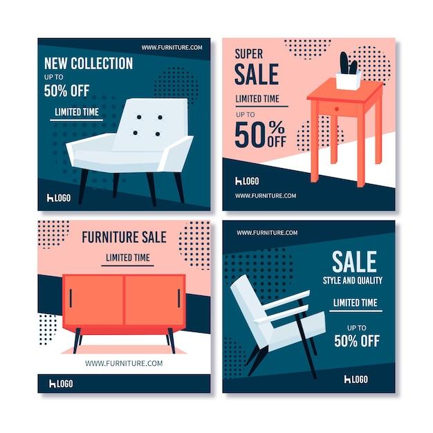 Venda de móveis coleção ig post Vetor Premium