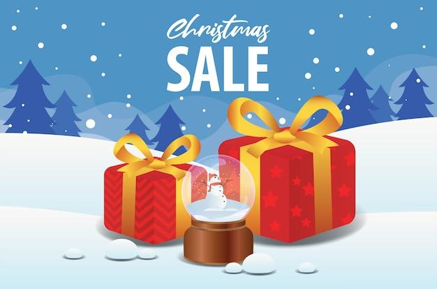 Venda de natal com bola de cristal e caixa de presente no fundo da paisagem de inverno Vetor Premium