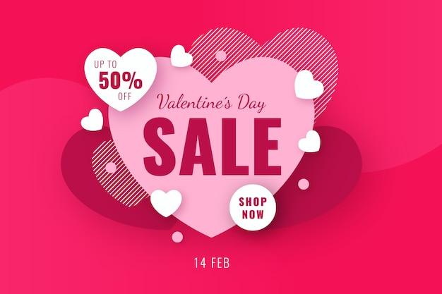 Venda de oferta especial de coração dia dos namorados Vetor grátis