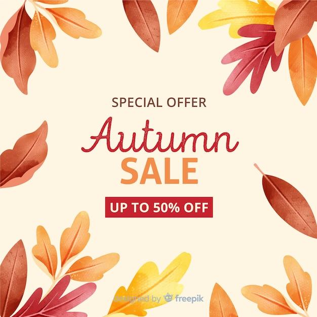 Venda de outono com folhas secas Vetor grátis
