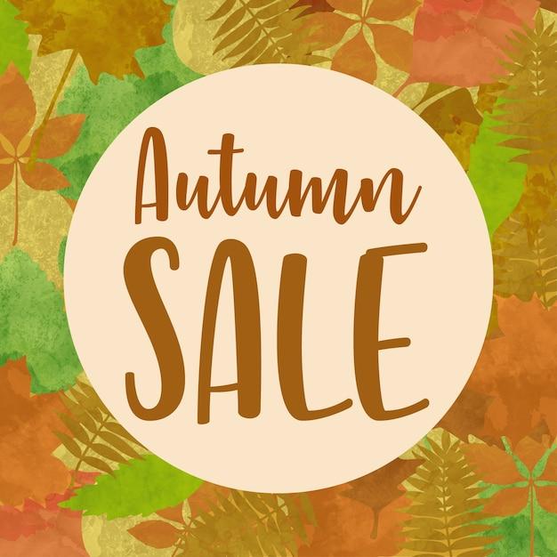 Venda de outono deixa o fundo Vetor Premium
